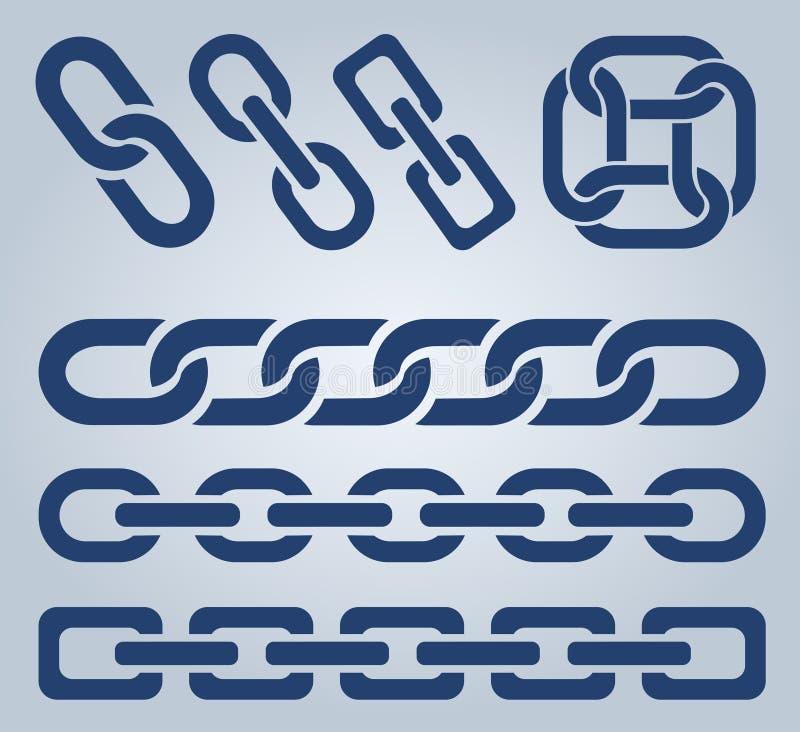 Εικονίδια αλυσίδων διανυσματική απεικόνιση