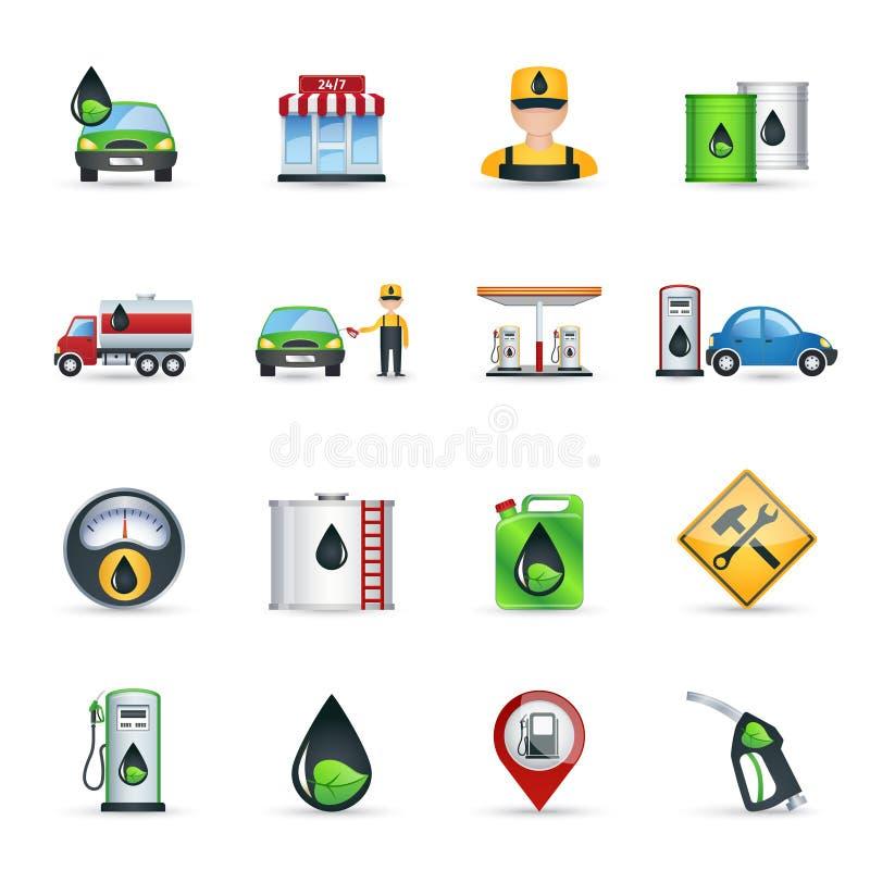 Εικονίδια βενζινάδικων καθορισμένα απεικόνιση αποθεμάτων
