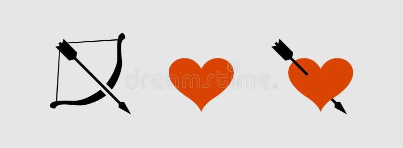 Εικονίδια βελών και καρδιών τόξων διανυσματική απεικόνιση