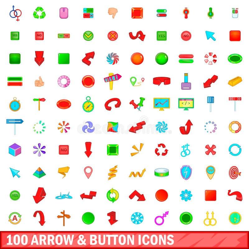 100 εικονίδια βελών και κουμπιών καθορισμένα, ύφος κινούμενων σχεδίων ελεύθερη απεικόνιση δικαιώματος