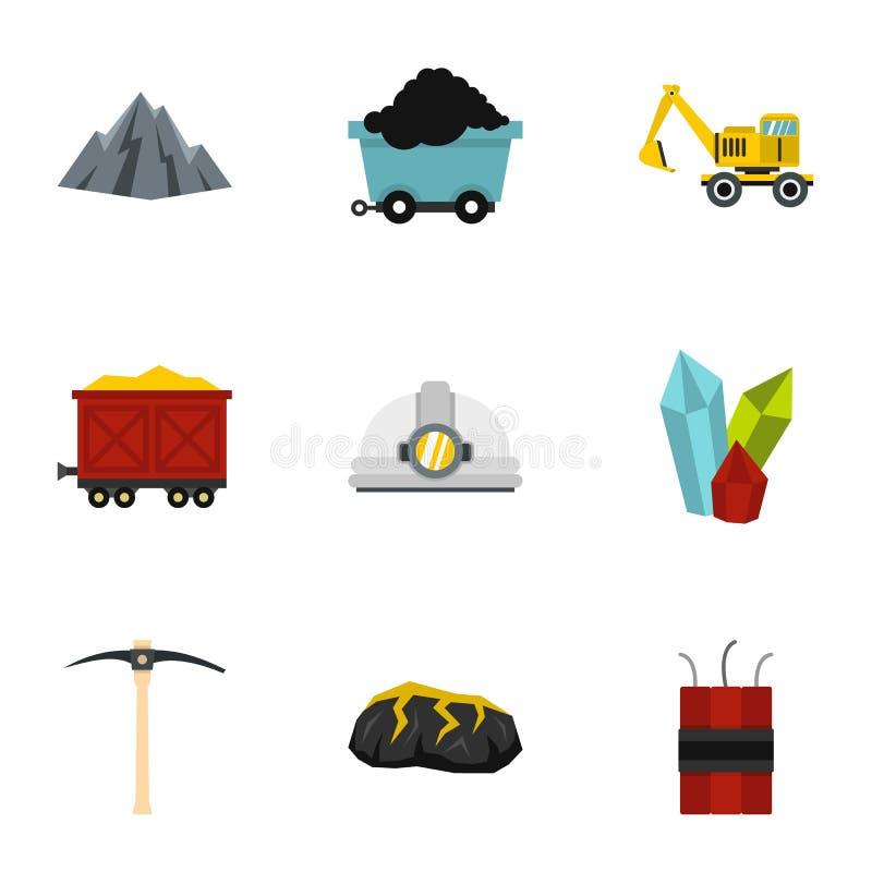 Εικονίδια βιομηχανίας άνθρακα μεταλλείας καθορισμένα, επίπεδο ύφος απεικόνιση αποθεμάτων