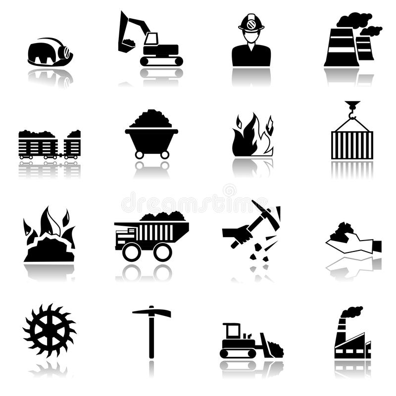 Εικονίδια βιομηχανίας άνθρακα απεικόνιση αποθεμάτων