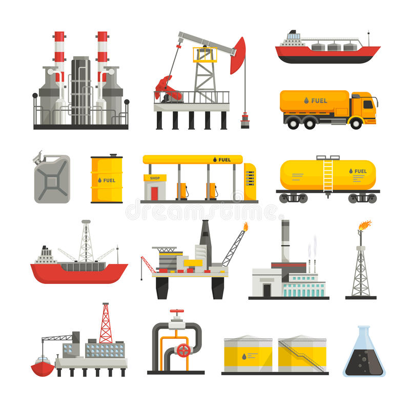 Εικονίδια βιομηχανίας βενζίνης πετρελαίου καθορισμένα απεικόνιση αποθεμάτων