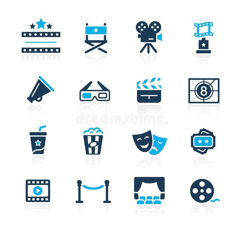 Εικονίδια βιομηχανίας κινηματογράφου και θεάτρων - κυανή σειρά ελεύθερη απεικόνιση δικαιώματος