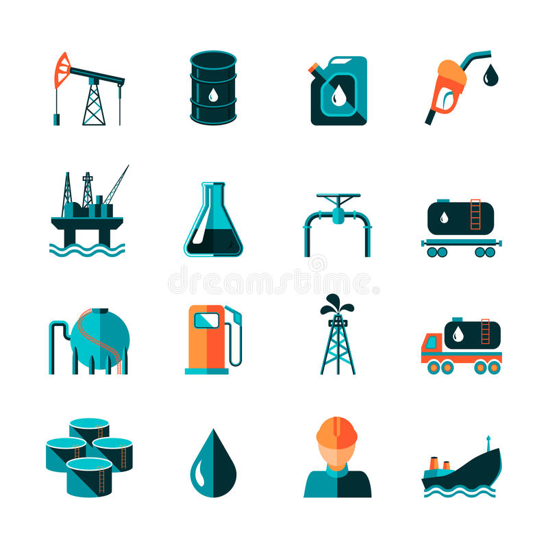 Εικονίδια βιομηχανίας πετρελαίου ελεύθερη απεικόνιση δικαιώματος