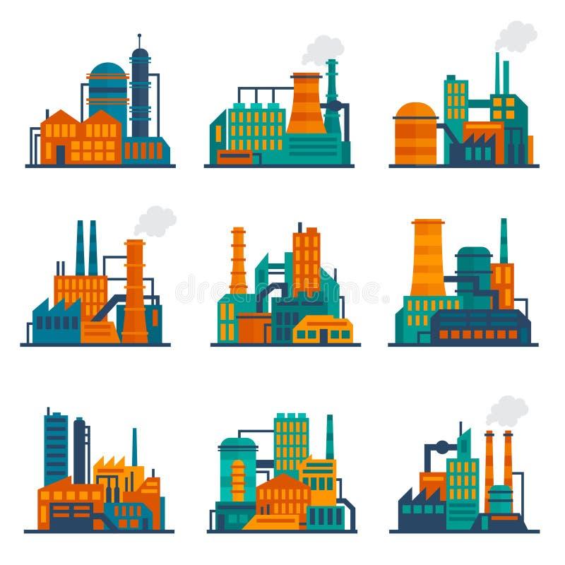 Εικονίδια βιομηχανικού κτηρίου καθορισμένα επίπεδα διανυσματική απεικόνιση