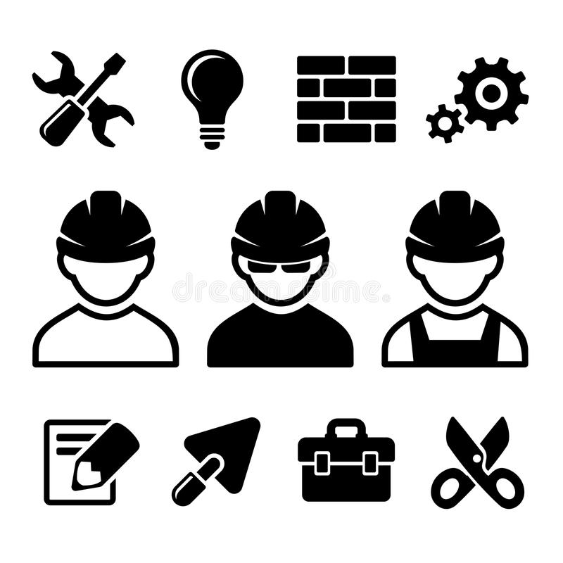 Εικονίδια βιομηχανικών εργατών καθορισμένα ελεύθερη απεικόνιση δικαιώματος