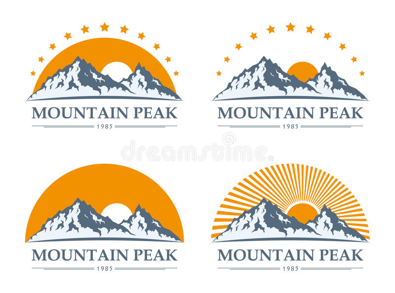Εικονίδια βουνών που τίθενται διανυσματική απεικόνιση