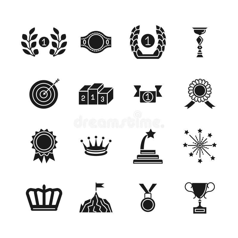 Εικονίδια βραβείων Μαύρα διανυσματικά απονομή ανταγωνισμού και σύνολο εικονιδίων σκιαγραφιών επιτεύγματος που απομονώνεται στο άσ διανυσματική απεικόνιση