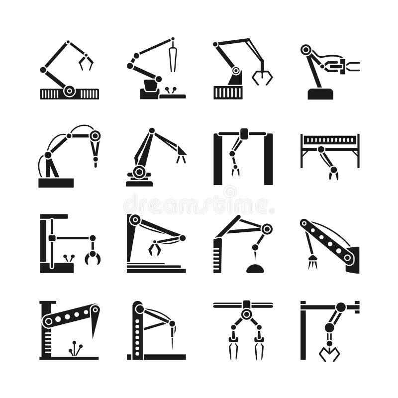Εικονίδια βραχιόνων ρομπότ Βιομηχανική διανυσματική απεικόνιση γραμμών ρομποτικής συνελεύσεων κατασκευής διανυσματική απεικόνιση
