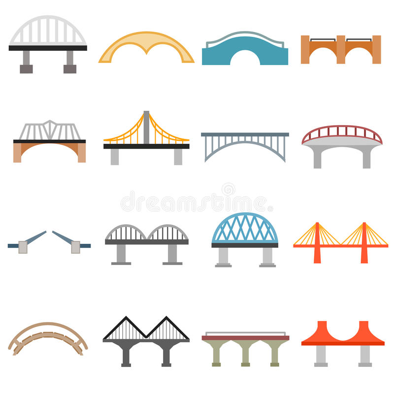 Εικονίδια γεφυρών καθορισμένα, επίπεδο ύφος απεικόνιση αποθεμάτων