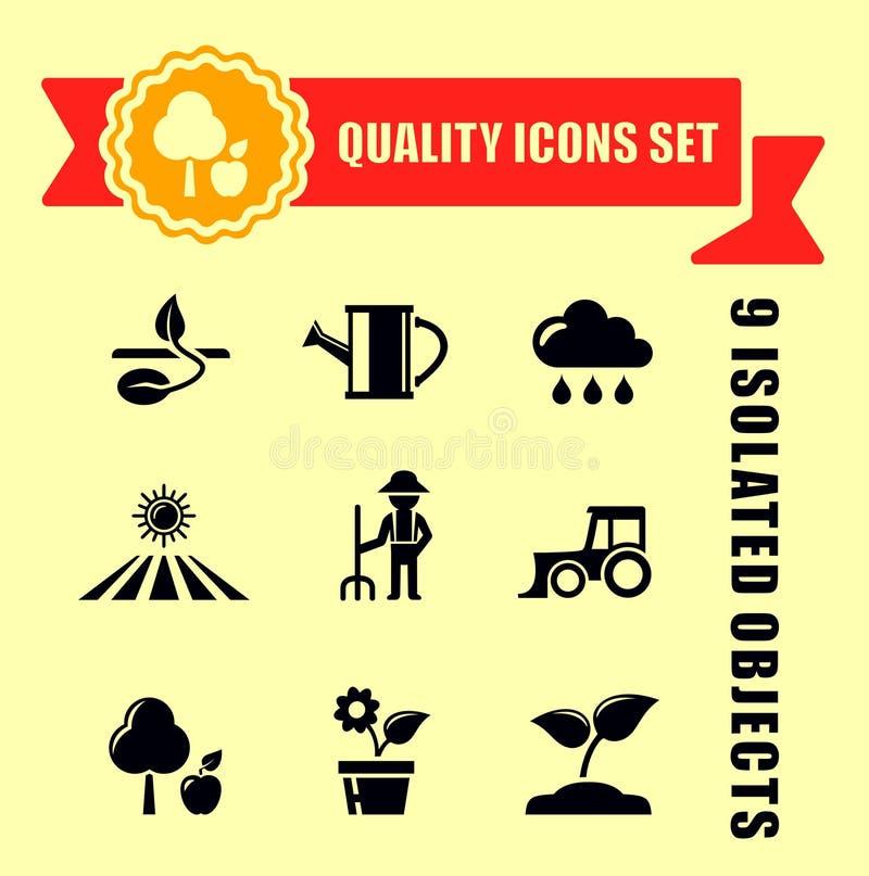 Εικονίδια γεωργίας ή κήπων με το κώλυμα διανυσματική απεικόνιση