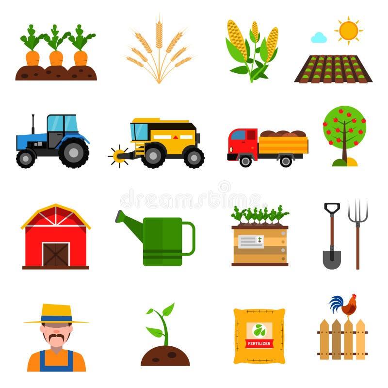 Εικονίδια γεωργίας καθορισμένα ελεύθερη απεικόνιση δικαιώματος