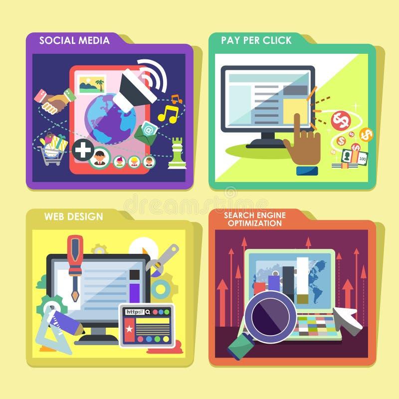 Εικονίδια για Διαδίκτυο που διαφημίζει στο επίπεδο σχέδιο απεικόνιση αποθεμάτων