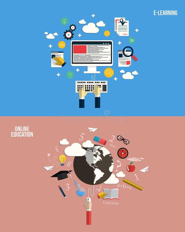Εικονίδια για τη σε απευθείας σύνδεση εκπαίδευση και την ε-εκμάθηση απεικόνιση αποθεμάτων