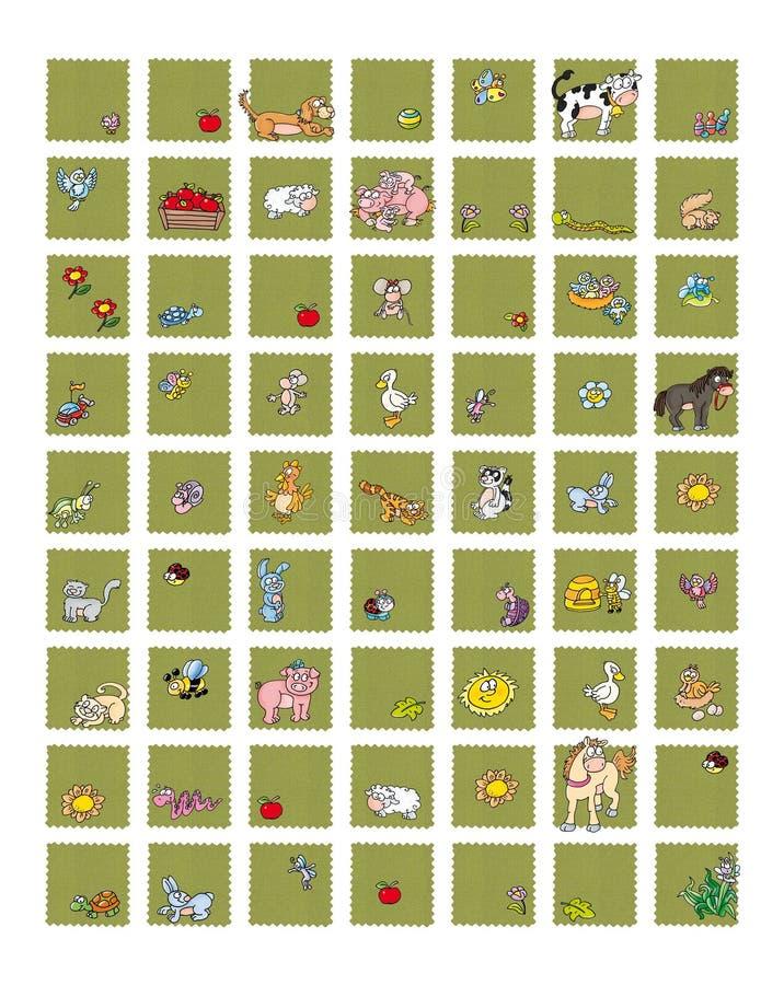 Εικονίδια για τις περιοχές και τα ζωικά τρόφιμα η αγελάδα γάλακτος με τη μέλισσα αυγών κοτών με το κουνέλι μελιού, τους χοίρους μ διανυσματική απεικόνιση
