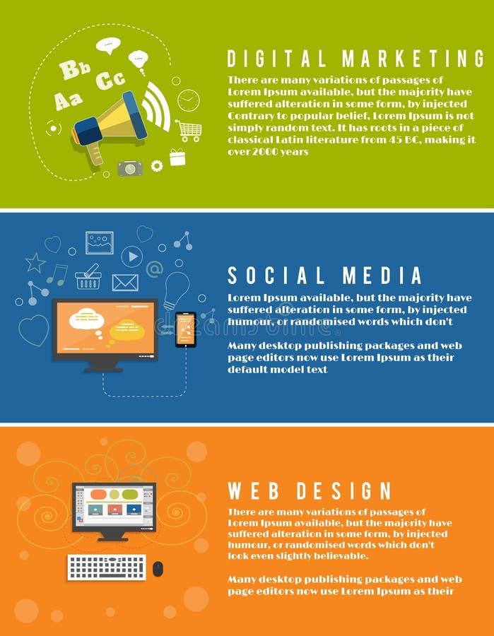 Εικονίδια για το σχέδιο Ιστού, seo, κοινωνικά μέσα απεικόνιση αποθεμάτων