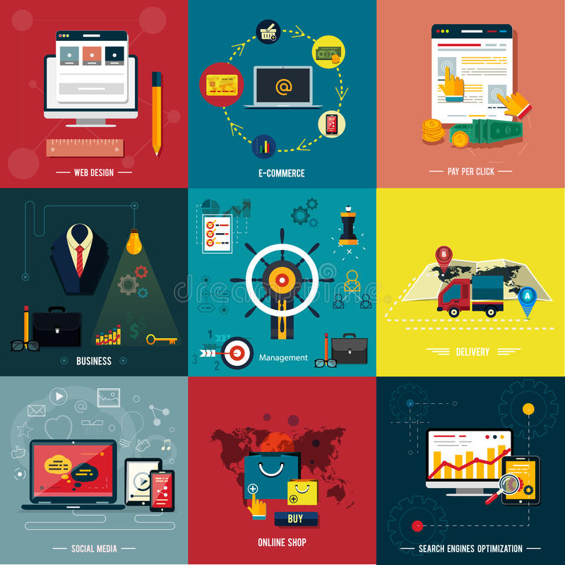 Εικονίδια για το σχέδιο Ιστού, seo, κοινωνικά μέσα διανυσματική απεικόνιση