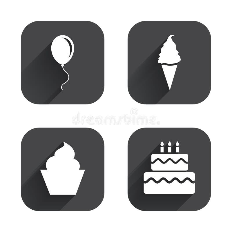 Εικονίδια γιορτής γενεθλίων Κέικ με το σύμβολο παγωτού απεικόνιση αποθεμάτων