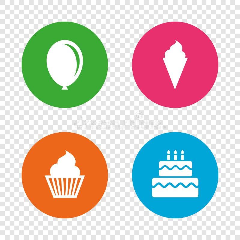 Εικονίδια γιορτής γενεθλίων Κέικ με το σύμβολο παγωτού ελεύθερη απεικόνιση δικαιώματος