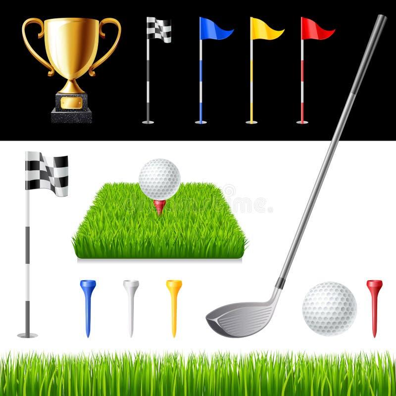 Εικονίδια γκολφ κλαμπ καθορισμένα διανυσματική απεικόνιση