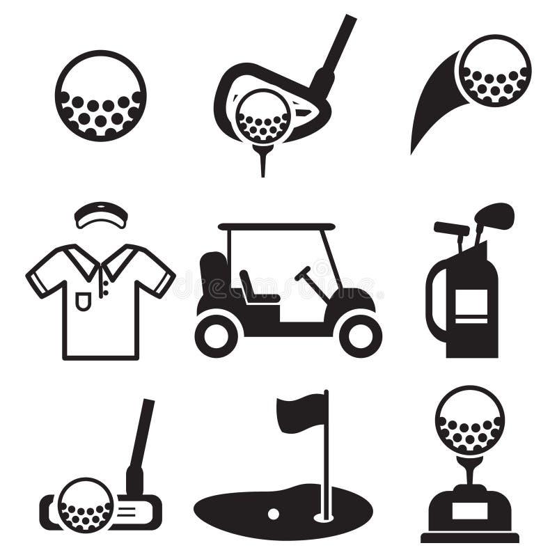 Εικονίδια γκολφ ελεύθερη απεικόνιση δικαιώματος