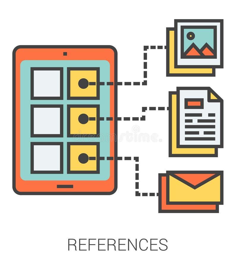 Εικονίδια γραμμών αναφορών διανυσματική απεικόνιση