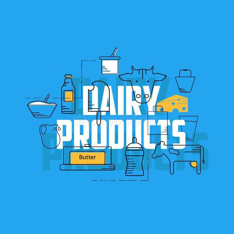 Εικονίδια γραμμών γαλακτοκομικών προϊόντων καθορισμένα ελεύθερη απεικόνιση δικαιώματος
