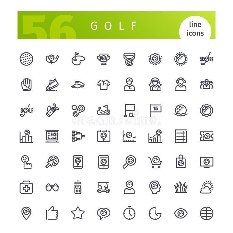 Εικονίδια γραμμών γκολφ καθορισμένα διανυσματική απεικόνιση