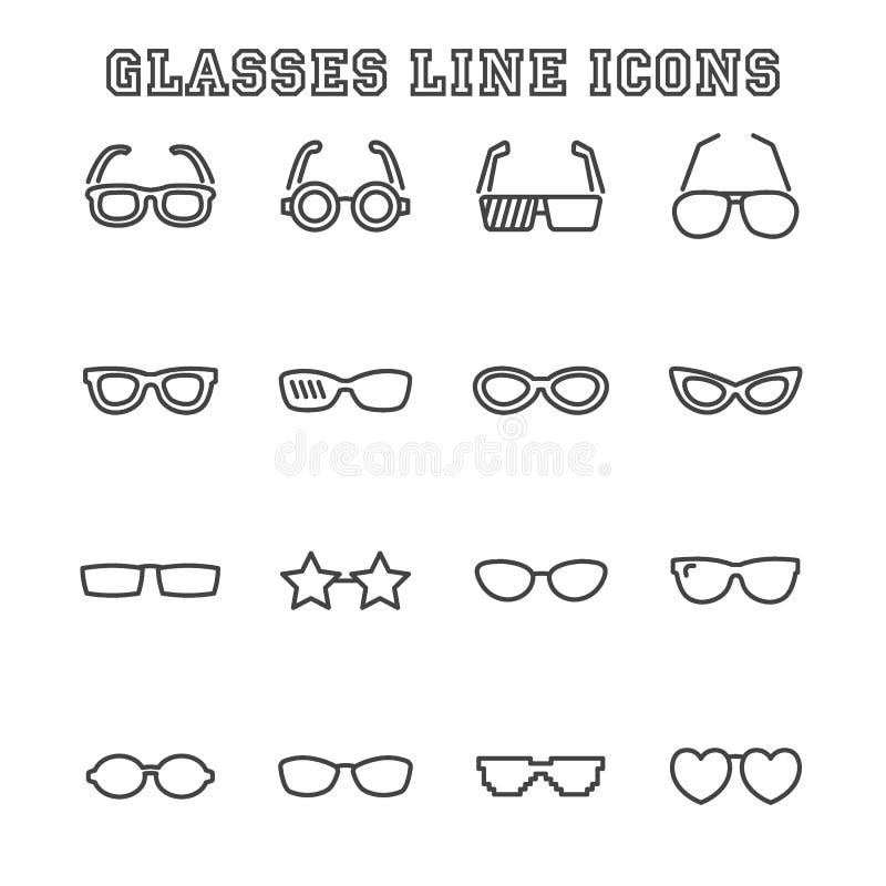Εικονίδια γραμμών γυαλιών διανυσματική απεικόνιση