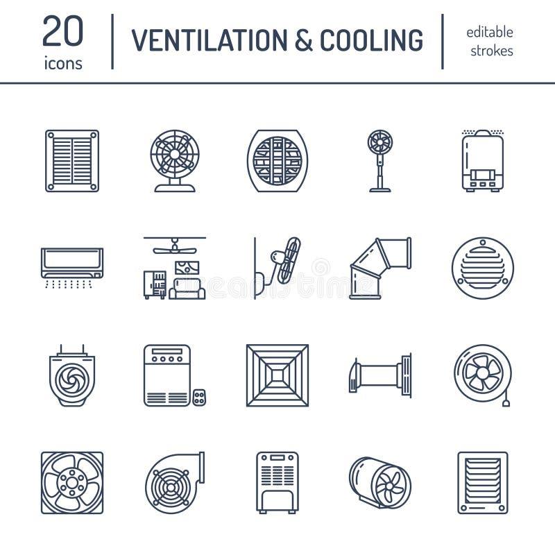Εικονίδια γραμμών εξοπλισμού εξαερισμού Κλιματισμός, δροσίζοντας συσκευές, ανεμιστήρας εξάτμισης Οικογένεια και βιομηχανικός εξαε διανυσματική απεικόνιση
