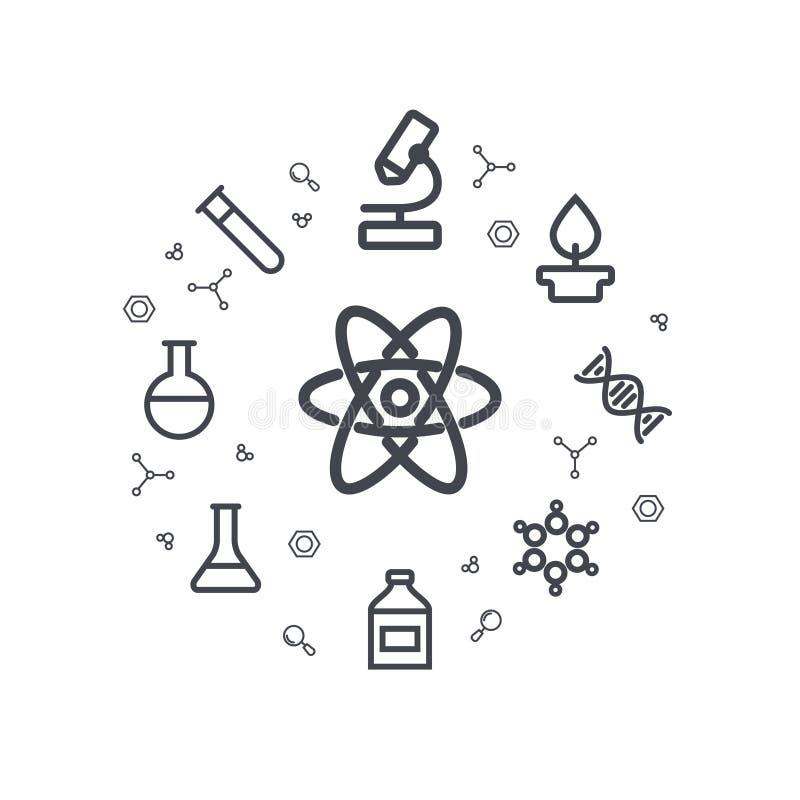 Εικονίδια γραμμών επιστήμης χημικά εικονίδια απεικόνιση κύκλων ανασκόπησης εφαρμογών πολλές χρήσιμο διάνυσμα Ελάχιστα γραμμικά ει απεικόνιση αποθεμάτων