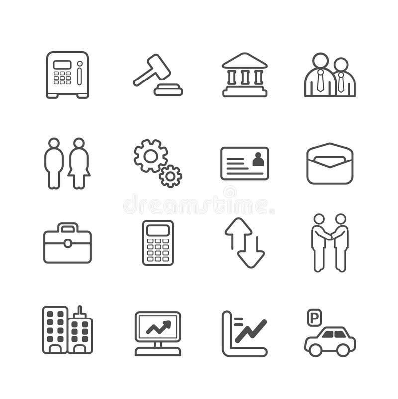 Εικονίδια γραμμών επιχειρήσεων και χρηματοδότησης καθορισμένα. ελεύθερη απεικόνιση δικαιώματος