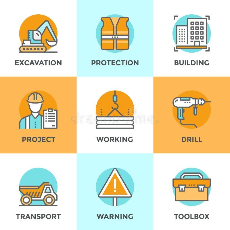 Εικονίδια γραμμών εργοτάξιων οικοδομής καθορισμένα διανυσματική απεικόνιση