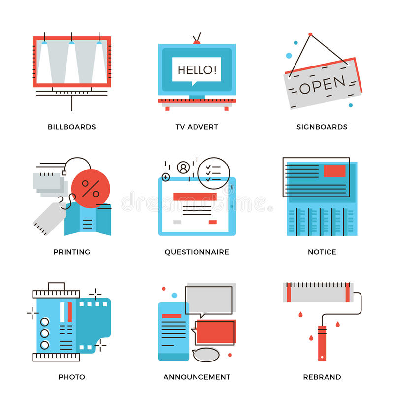 Εικονίδια γραμμών διαφήμισης και μάρκετινγκ καθορισμένα διανυσματική απεικόνιση