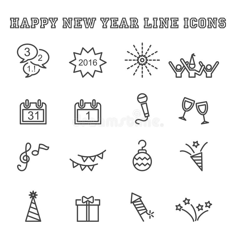 Εικονίδια γραμμών καλής χρονιάς διανυσματική απεικόνιση