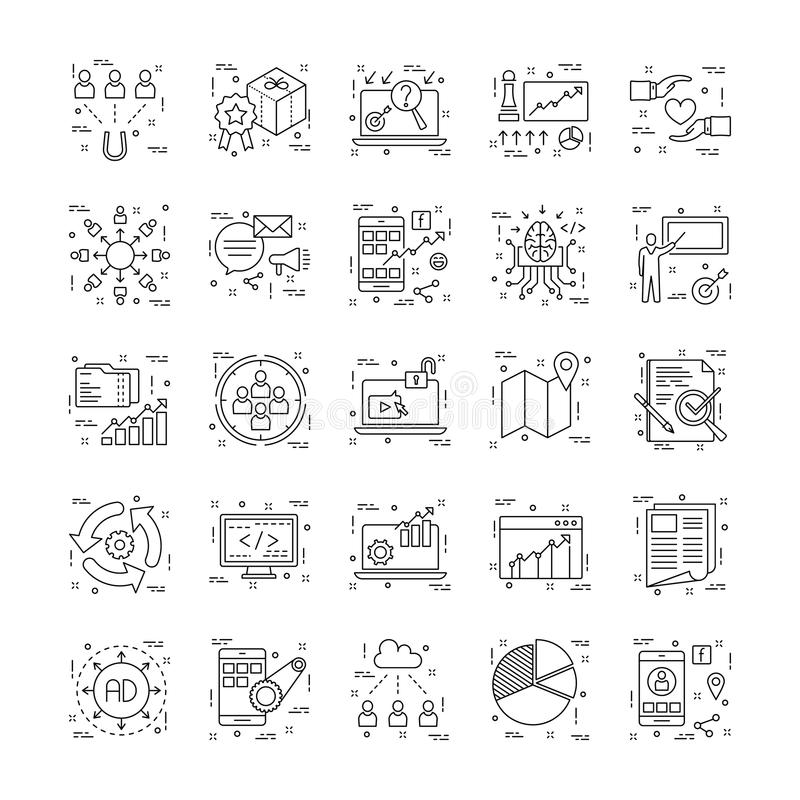 Εικονίδια γραμμών με τη λεπτομέρεια 12 διανυσματική απεικόνιση
