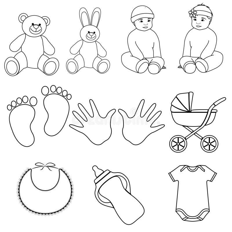 Εικονίδια γραμμών μωρών διανυσματική απεικόνιση