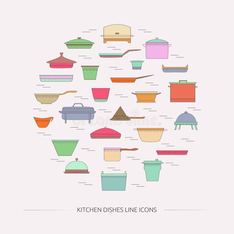 Εικονίδια γραμμών πιάτων κουζινών διανυσματική απεικόνιση