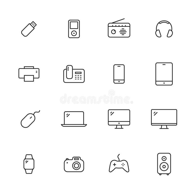 Εικονίδια γραμμών συσκευών ελεύθερη απεικόνιση δικαιώματος