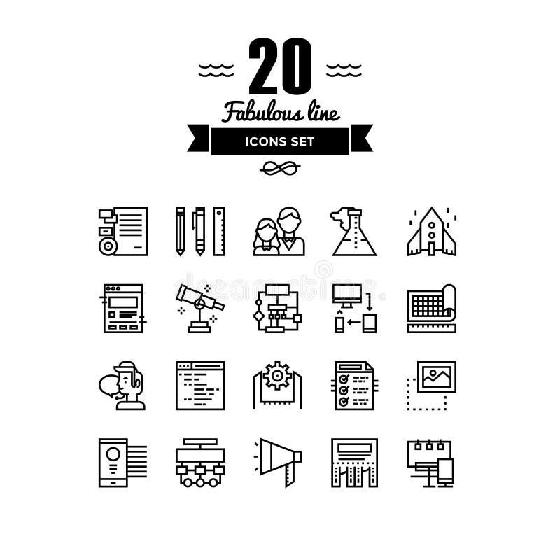 Εικονίδια γραμμών σχεδίου εμπορικών σημάτων καθορισμένα ελεύθερη απεικόνιση δικαιώματος