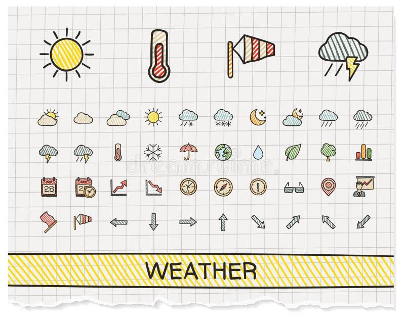 Εικονίδια γραμμών σχεδίων καιρικών χεριών απεικόνιση αποθεμάτων