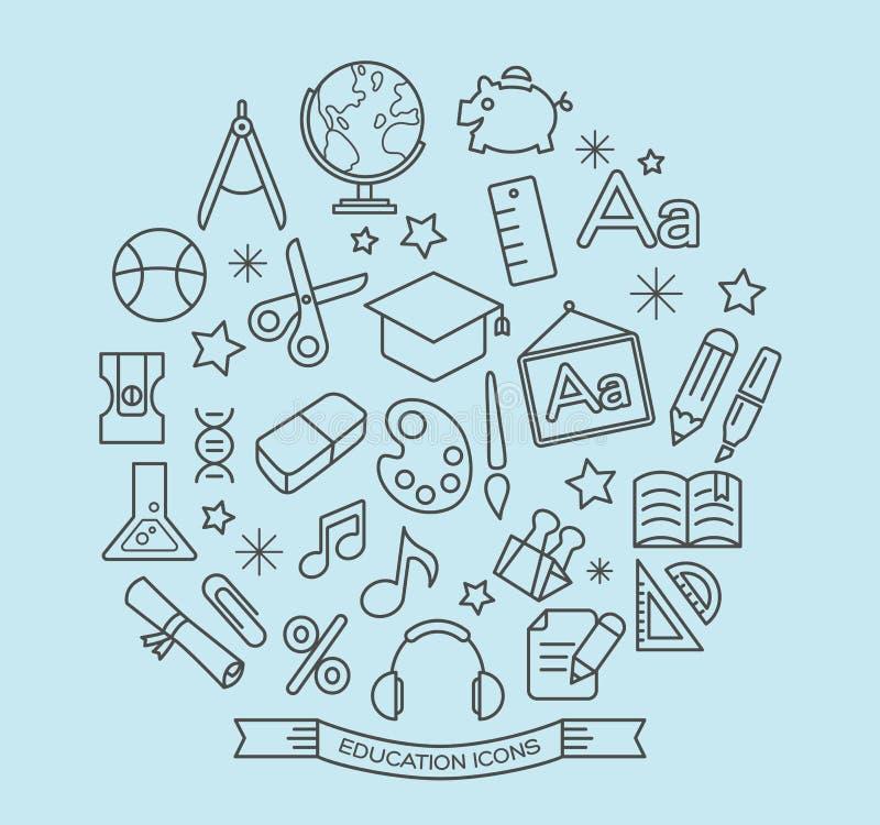Εικονίδια γραμμών σχολείου και εκπαίδευσης με το ύφος περιλήψεων διανυσματική απεικόνιση
