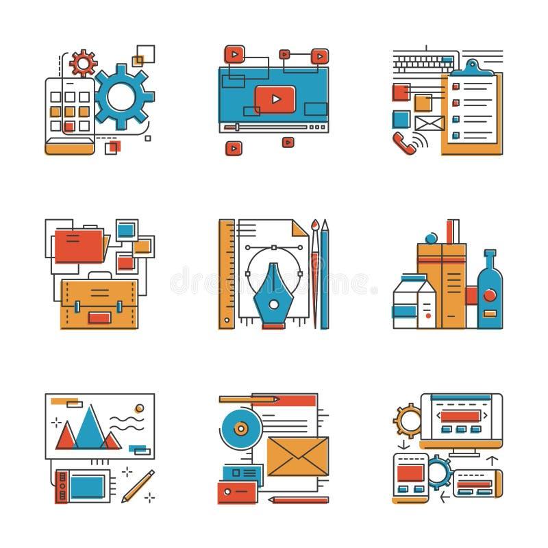 Εικονίδια γραμμών υπηρεσιών αντιπροσωπειών σχεδίου καθορισμένα ελεύθερη απεικόνιση δικαιώματος