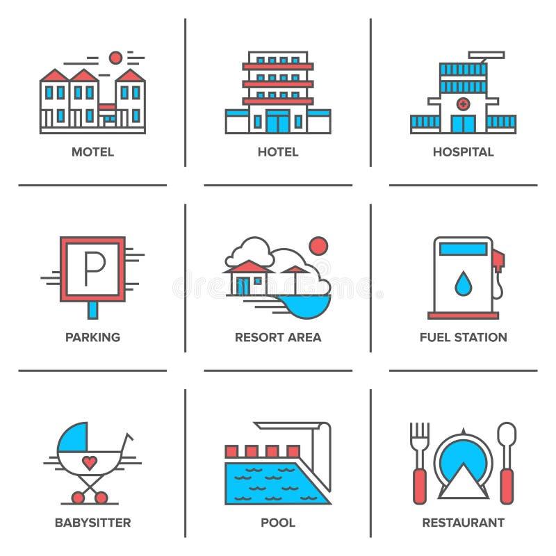 Εικονίδια γραμμών υπηρεσιών ξενοδοχείων καθορισμένα διανυσματική απεικόνιση