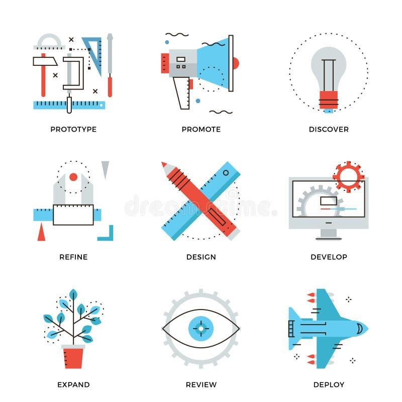Εικονίδια γραμμών υπηρεσιών σχεδίου προϊόντων καθορισμένα απεικόνιση αποθεμάτων