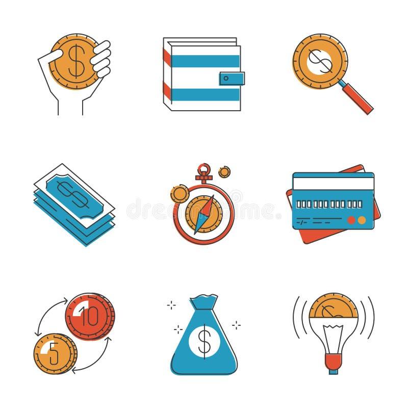 Εικονίδια γραμμών χρημάτων χρηματοδότησης και επένδυσης καθορισμένα ελεύθερη απεικόνιση δικαιώματος