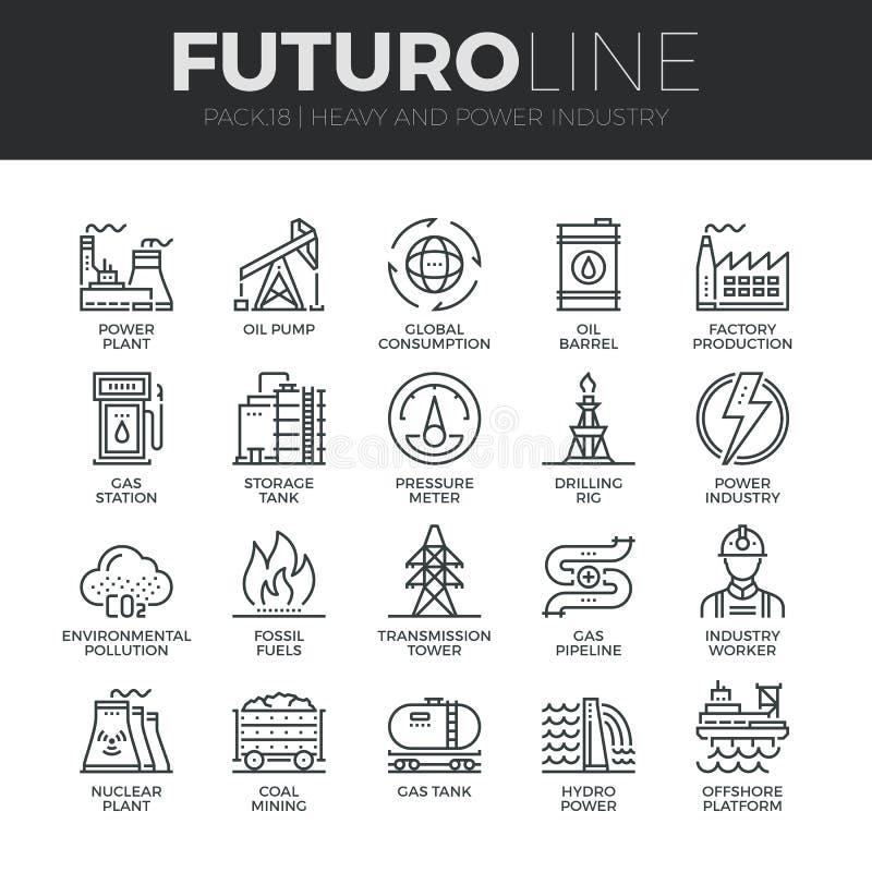Εικονίδια γραμμών Futuro βαριάς και βιομηχανίας δύναμης καθορισμένα ελεύθερη απεικόνιση δικαιώματος