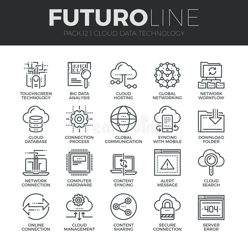 Εικονίδια γραμμών Futuro τεχνολογίας στοιχείων σύννεφων καθορισμένα απεικόνιση αποθεμάτων