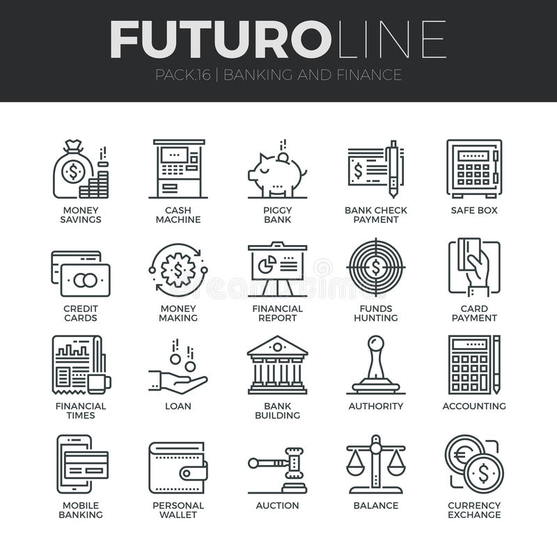 Εικονίδια γραμμών Futuro χρηματοδότησης και τραπεζικών εργασιών καθορισμένα απεικόνιση αποθεμάτων